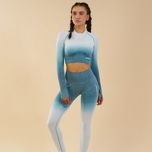 Gymshark Ombré Seamless Crop Deep Teal/Ice Blue
